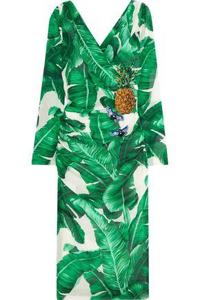 DOLCE & GABBANA Embellished printed silk-blend dress