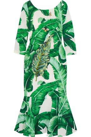 DOLCE & GABBANA Embellished printed crepe midi dress