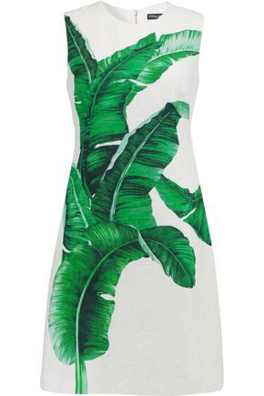 DOLCE & GABBANA Printed cotton and silk-blend jacquard dress