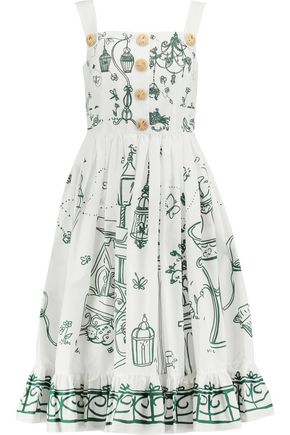 DOLCE & GABBANA Button-embellished printed cotton dress