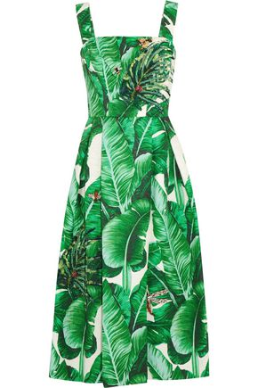 DOLCE & GABBANA Appliquéd printed cotton and silk-blend midi dress