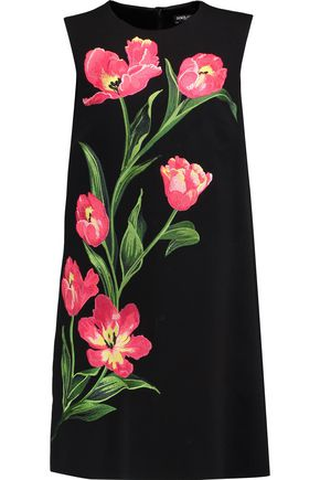 DOLCE & GABBANA Embroidered wool-blend crepe mini dress