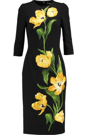 DOLCE & GABBANA Embroidered wool-blend crepe dress