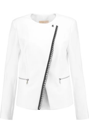 MICHAEL MICHAEL KORS Chain-embellished leather-trimmed crepe jacket