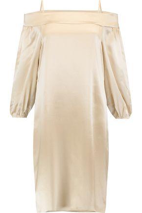 TIBI Cold-shoulder silk-satin mini dress