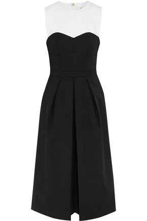 TIBI Agathe two-tone pleated cady jumpsuit