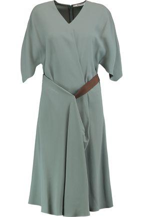 CHALAYAN Grosgrain-trimmed draped crepe dress