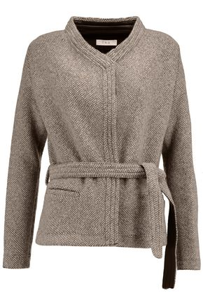 IRO Belted leather-trimmed wool-blend jacket