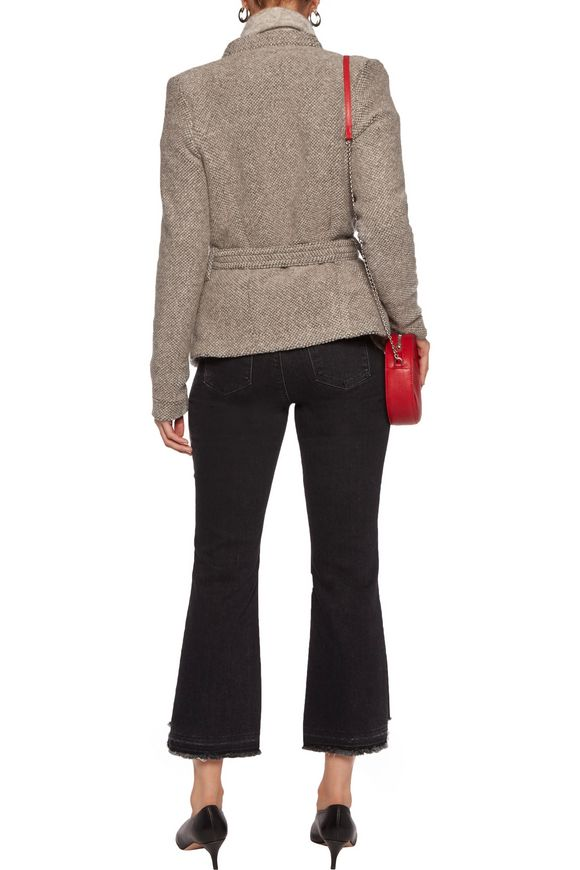 Belted leather-trimmed wool-blend jacket | IRO | Sale up to 70% off | THE  OUTNET