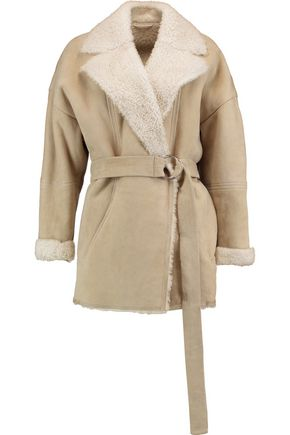 IRO Belted shearling-trimmed suede jacket