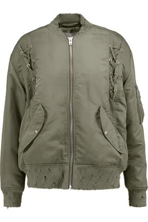 IRO Distressed shell bomber jacket