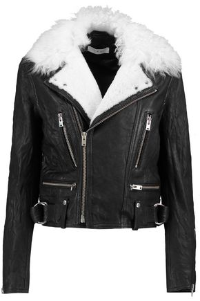 IRO Shearling-trimmed leather biker jacket