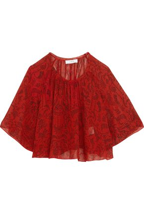 IRO Frayed printed chiffon top