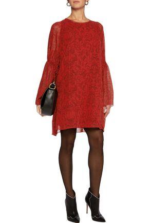 IRO Printed satin-crepe mini dress
