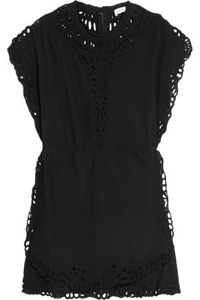 IRO Broderie anglaise-trimmed gauze mini dress