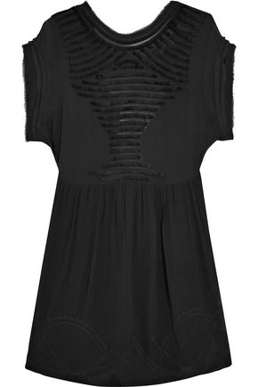 IRO Frayed cutout chiffon mini dress