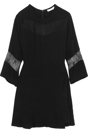 IRO Lace-paneled crepe mini dress
