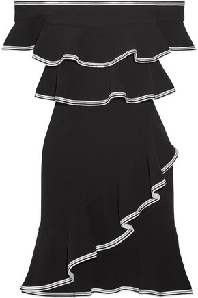 REBECCA VALLANCE Courtside off-the-shoulder ruffled stretch-cloqué mini dress