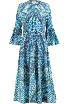 TEMPERLEY LONDON Pussy-bow printed cotton midi dress