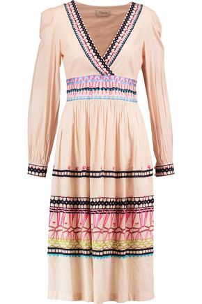 TEMPERLEY LONDON Pleated embroidered cotton dress