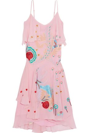 TEMPERLEY LONDON Chimera embroidered silk-crepe midi dress