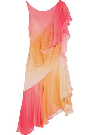 TEMPERLEY LONDON Miracle asymmetric tiered silk dress