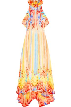 TEMPERLEY LONDON Ruffled halterneck silk dress