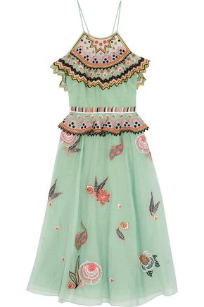 TEMPERLEY LONDON Cold-shoulder embroidered gauze midi dress