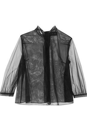 SIMONE ROCHA Tie-neck split-back mesh blouse