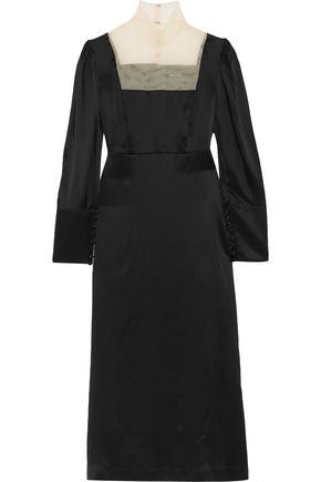 SIMONE ROCHA Paneled silk midi dress