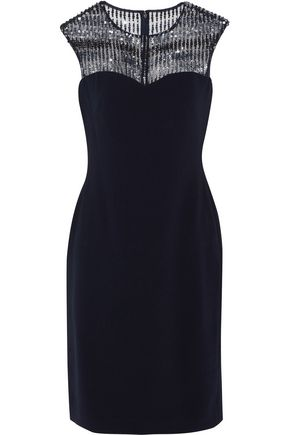 MIKAEL AGHAL Embellished tulle-paneled crepe dress