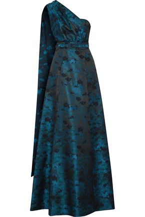 MIKAEL AGHAL One-shoulder belted jacquard gown