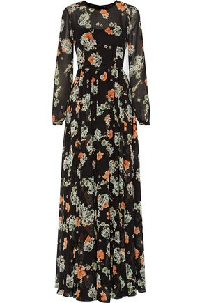 MIKAEL AGHAL Floral-print chiffon gown