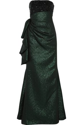 MIKAEL AGHAL Strapless embellished gathered metallic cloqué gown