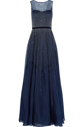 MIKAEL AGHAL Pleated embellished metallic silk-organza gown