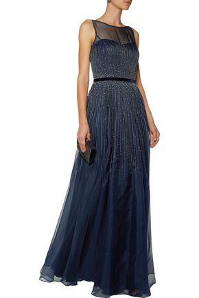 ... MIKAEL AGHAL Pleated embellished metallic silk-organza gown ...