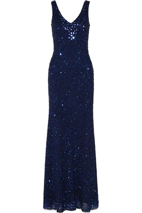 MIKAEL AGHAL Crystal-embellished sequined tulle gown