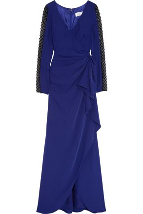 MIKAEL AGHAL Embellished satin-cady gown