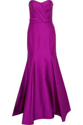 MIKAEL AGHAL Ruched satin-crepe gown