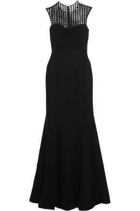 MIKAEL AGHAL Sequin-embellished paneled open-mesh cady gown