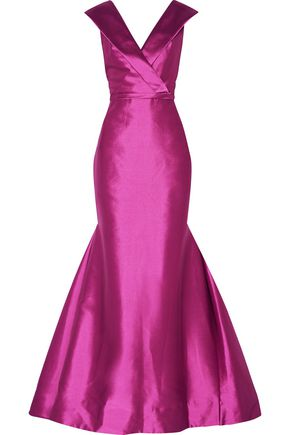 MIKAEL AGHAL Flared wrap-effect duchesse satin gown