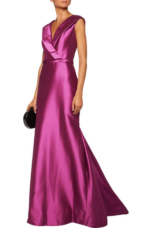 Flared wrap-effect duchesse satin gown | MIKAEL AGHAL | Sale up to 70% off  | THE OUTNET