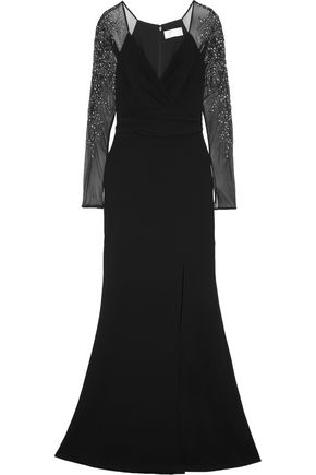 MIKAEL AGHAL Mesh-paneled embellished crepe gown