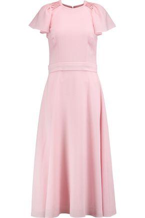 GOAT Dionne pintucked wool-crepe midi dress