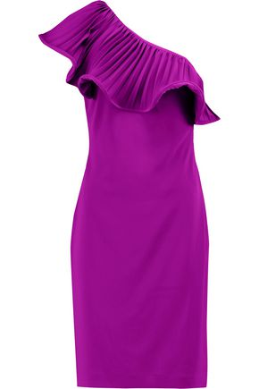 BADGLEY MISCHKA Ruffle-trimmed one-shoulder crepe dress