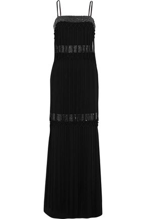 BADGLEY MISCHKA Fringed bead-embellished cady gown