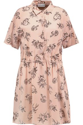 REDValentino Printed silk-crepe mini dress