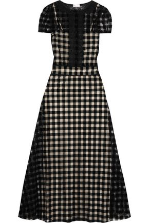 REDValentino Lace-trimmed checked felt and mesh maxi dress