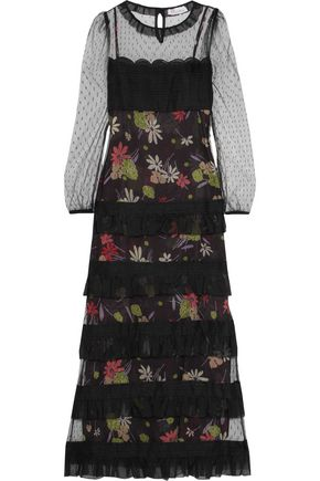 REDValentino Swiss-dot tulle-paneled tiered printed chiffon maxi dress