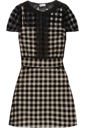 REDValentino Lace-trimmed checked velvet and mesh dress